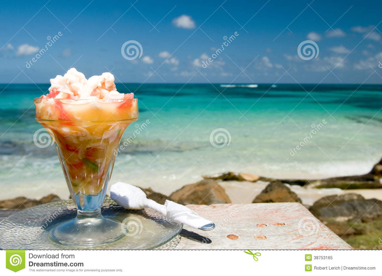 Lobster Ceviche Caribbean Sea Background Nicaragua Stock Image - Image of waterfront, ocean ...