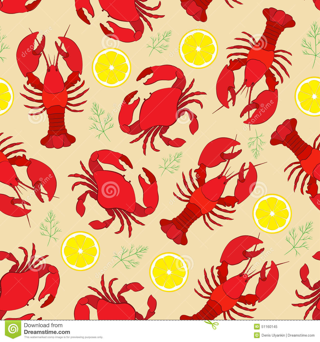 Lobster and crab with lemon and dill