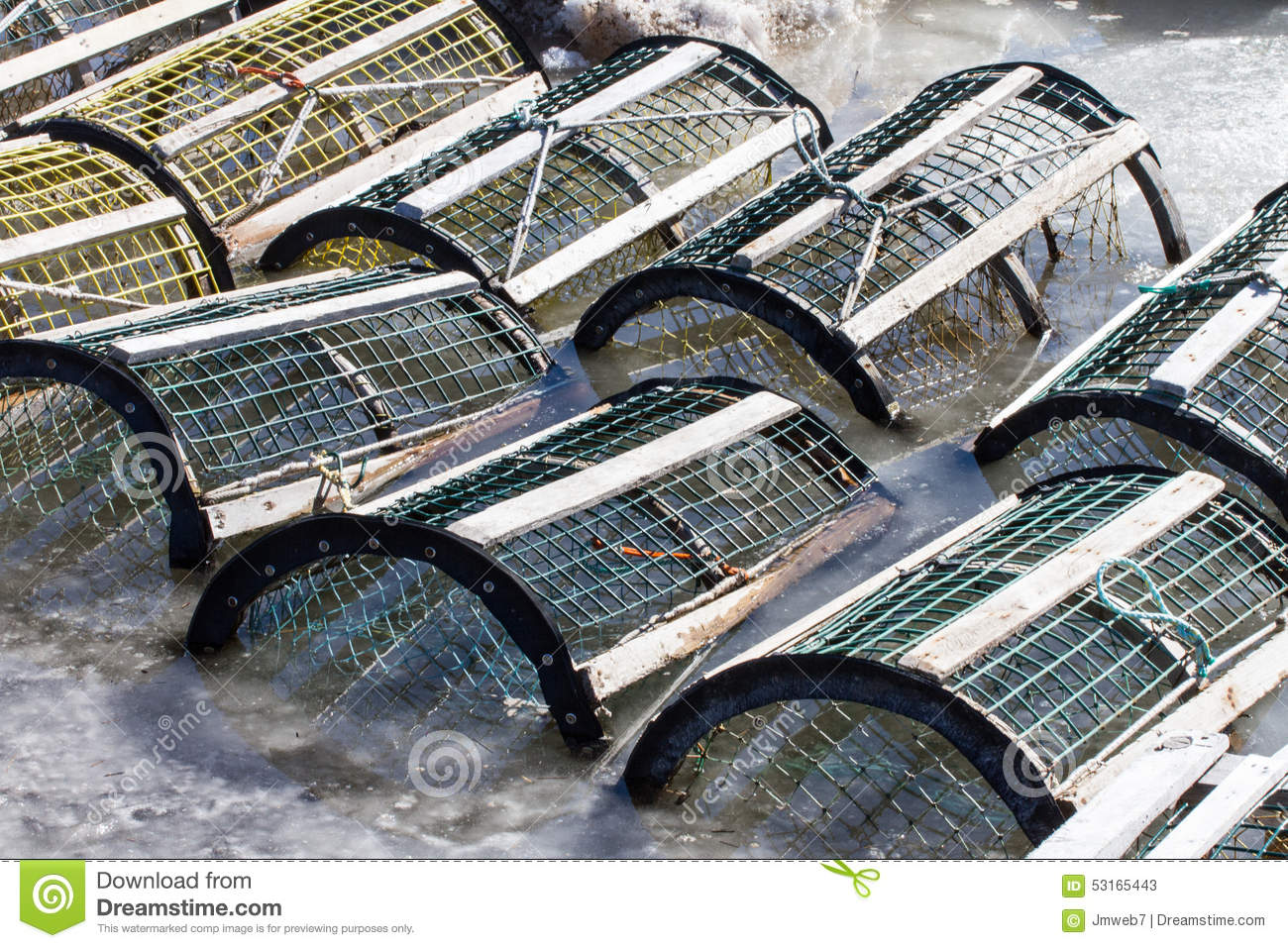 Lobstercrab Traps In Ice Stock Image Image Of Awaiting 53165443