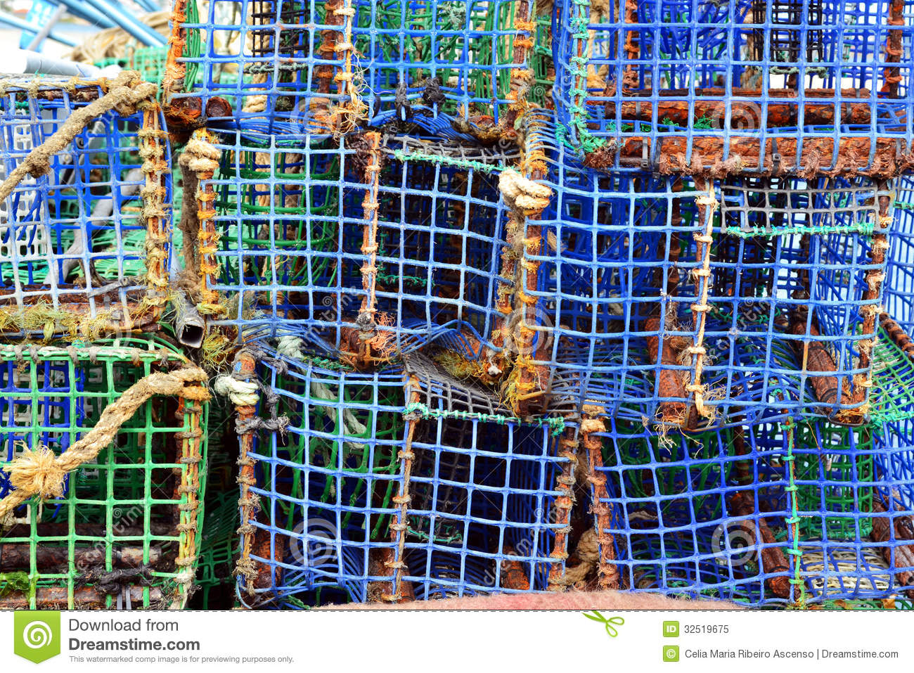 Lobster And Crabs Fishermen Traps Stock Image - Image of lobster, ocean: 32519675