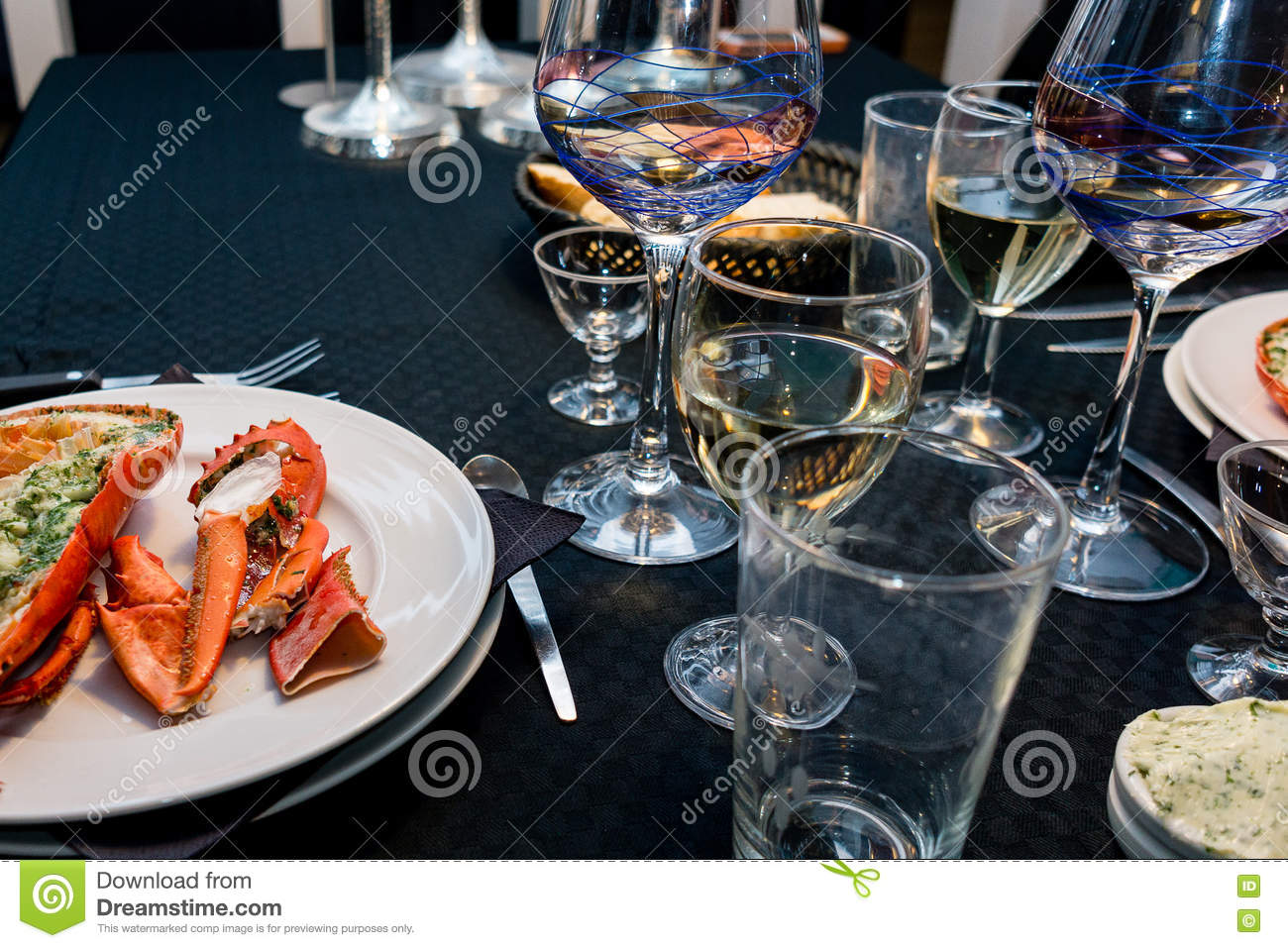 Lobster Dinner For Two On New Years Eve Stock Image Image Of Years