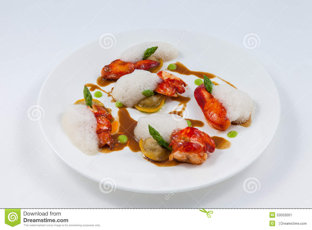 Lobster fine dining stock image. Image of plate, foodstyling - 53503001