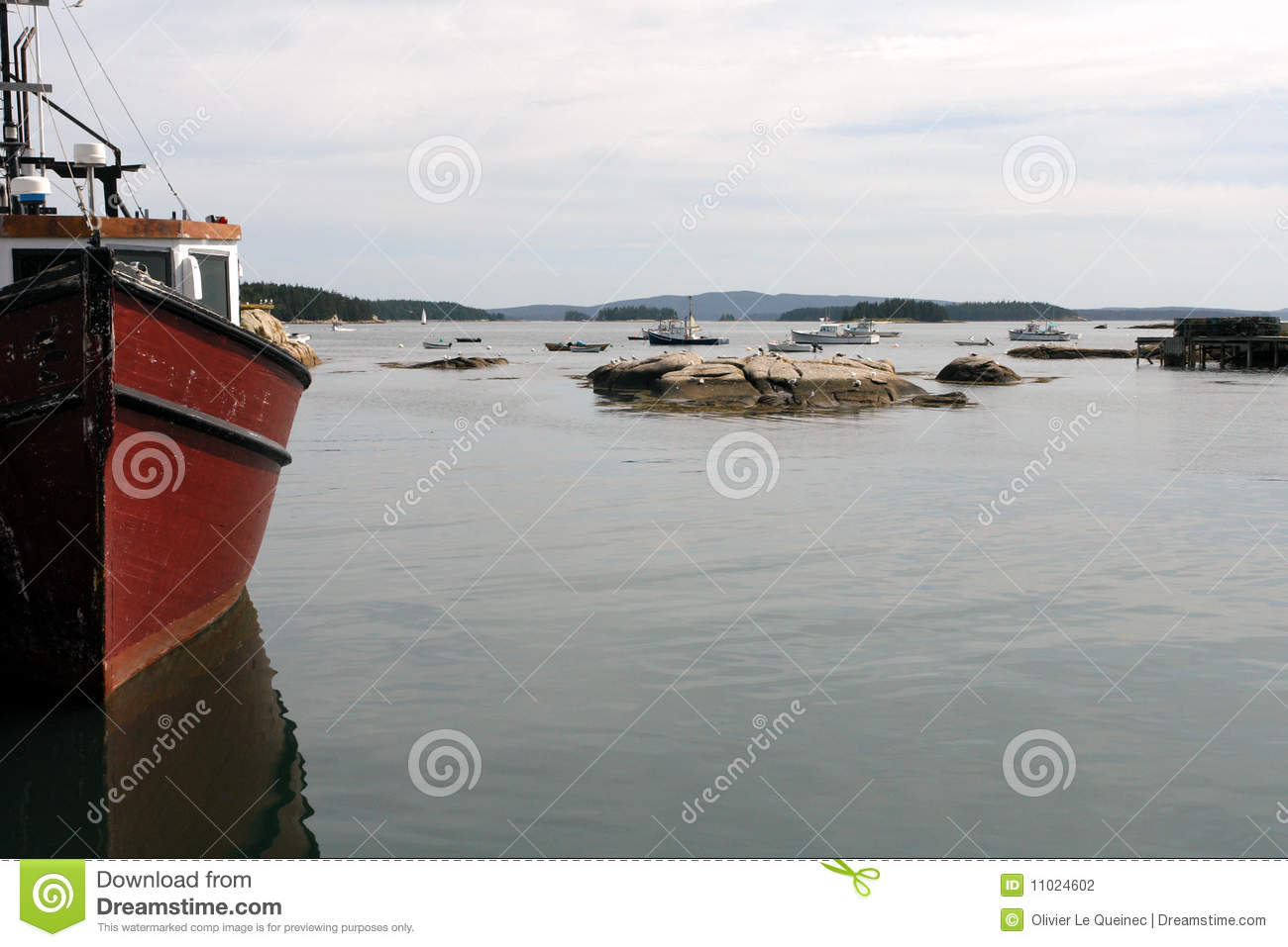 Red fishing boat or ship royalty free stock photography for Lobster fishing in maine