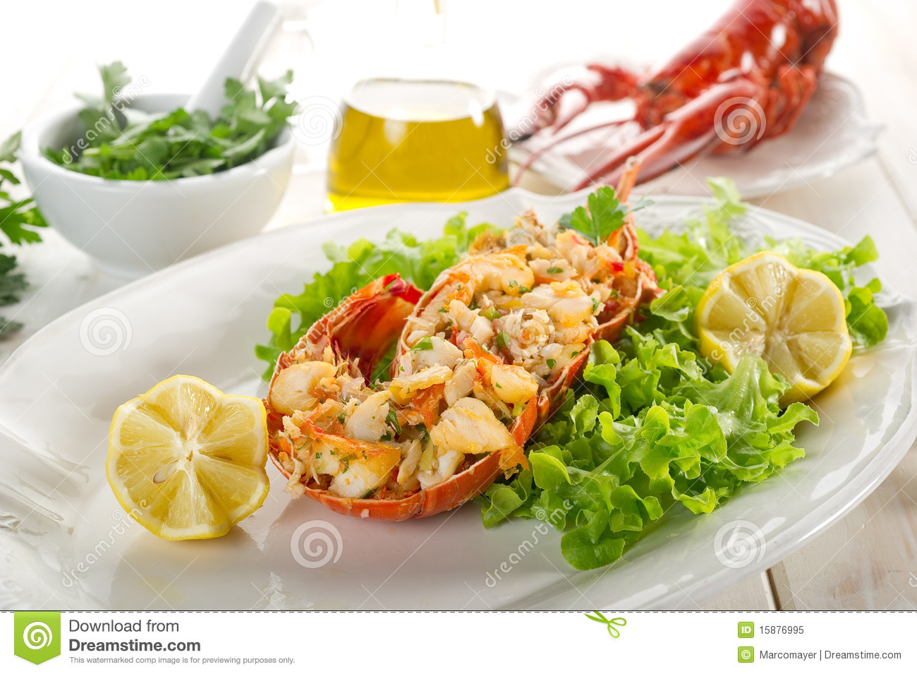 Lobster With Green Salad Royalty Free Stock Photo - Image: 15876995