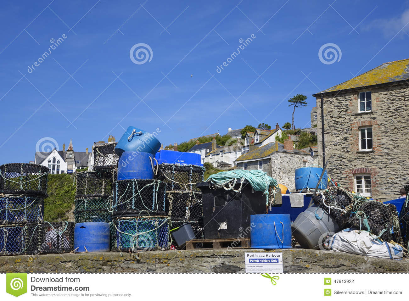 Lobster pots inPort Issac hot sunny summers afternoon