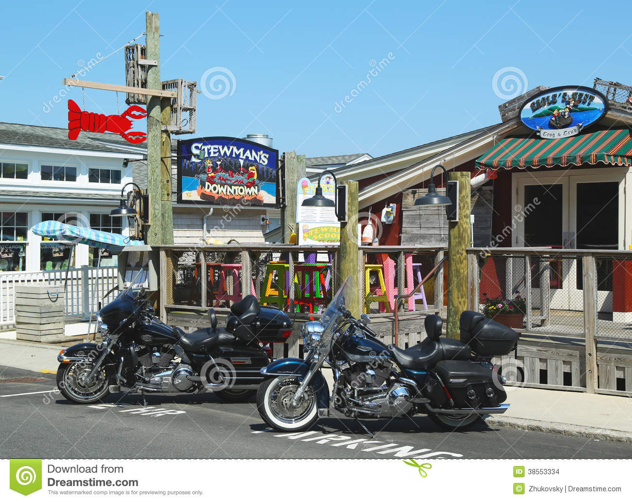 Lobster Restaurants And Souvenir Shops In Historic Bar Harbor, Maine Editorial Stock Image ...
