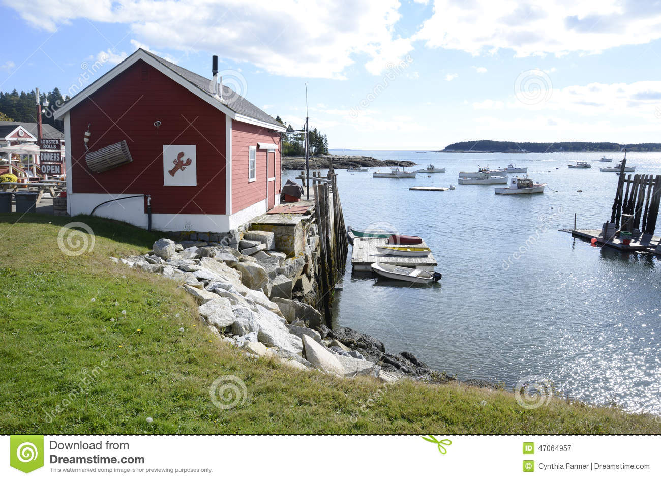 Lobster shack by maine coast stock photo image 47064957 for Best time to visit maine for lobster