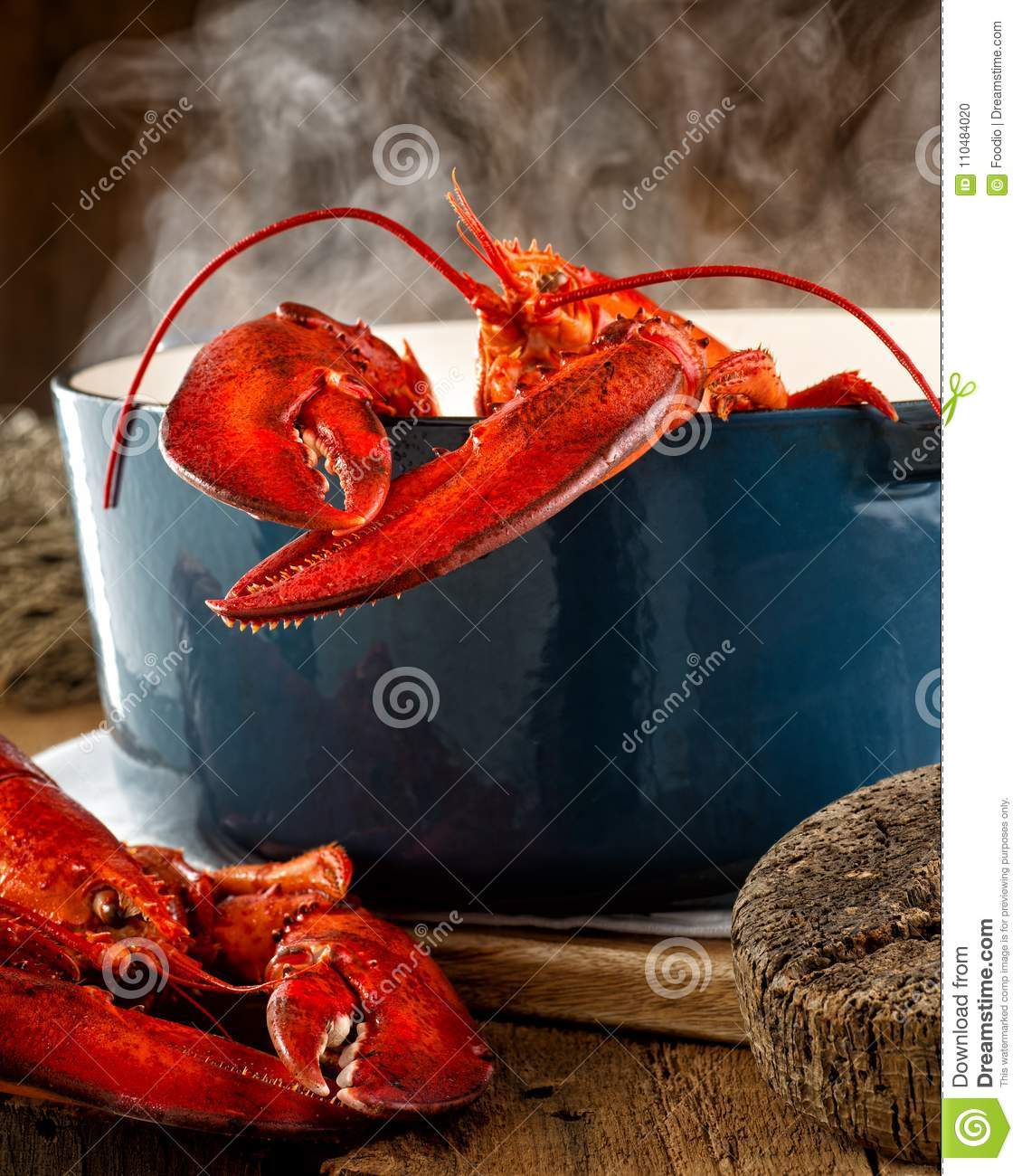 Lobster Steaming in a Pot