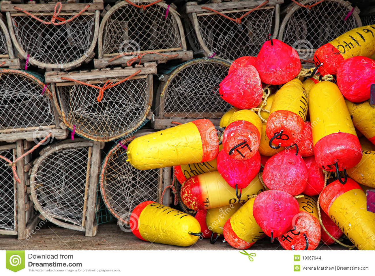 Lobster Trap And Buoys Stock Images - Image: 19367644