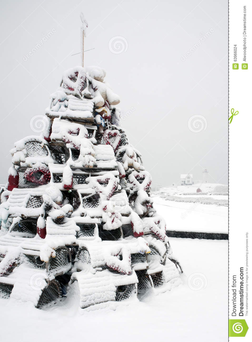 Lovely Lobster Trap Christmas Tree Near Lighthouse In Snowstorm