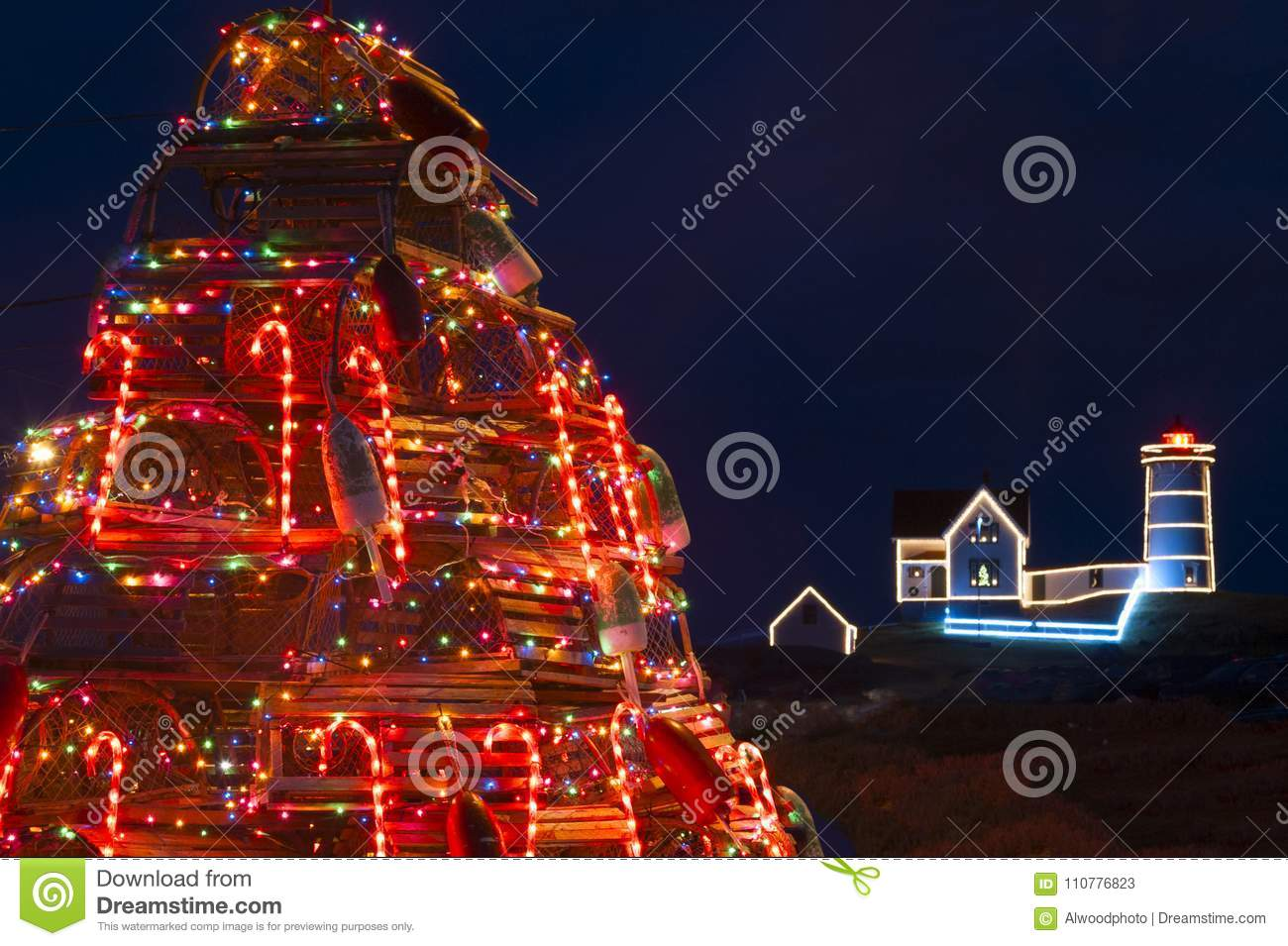 Lobster Trap Christmas Tree Near Nubble Lighthouse In Maine Stock ...