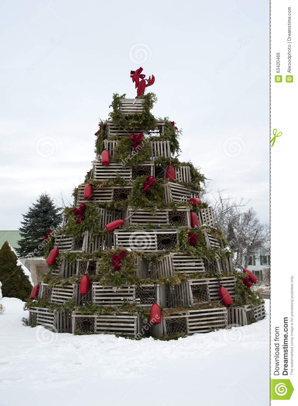 Lobster Trap Holiday Tree Stock Photo - Image: 63420466