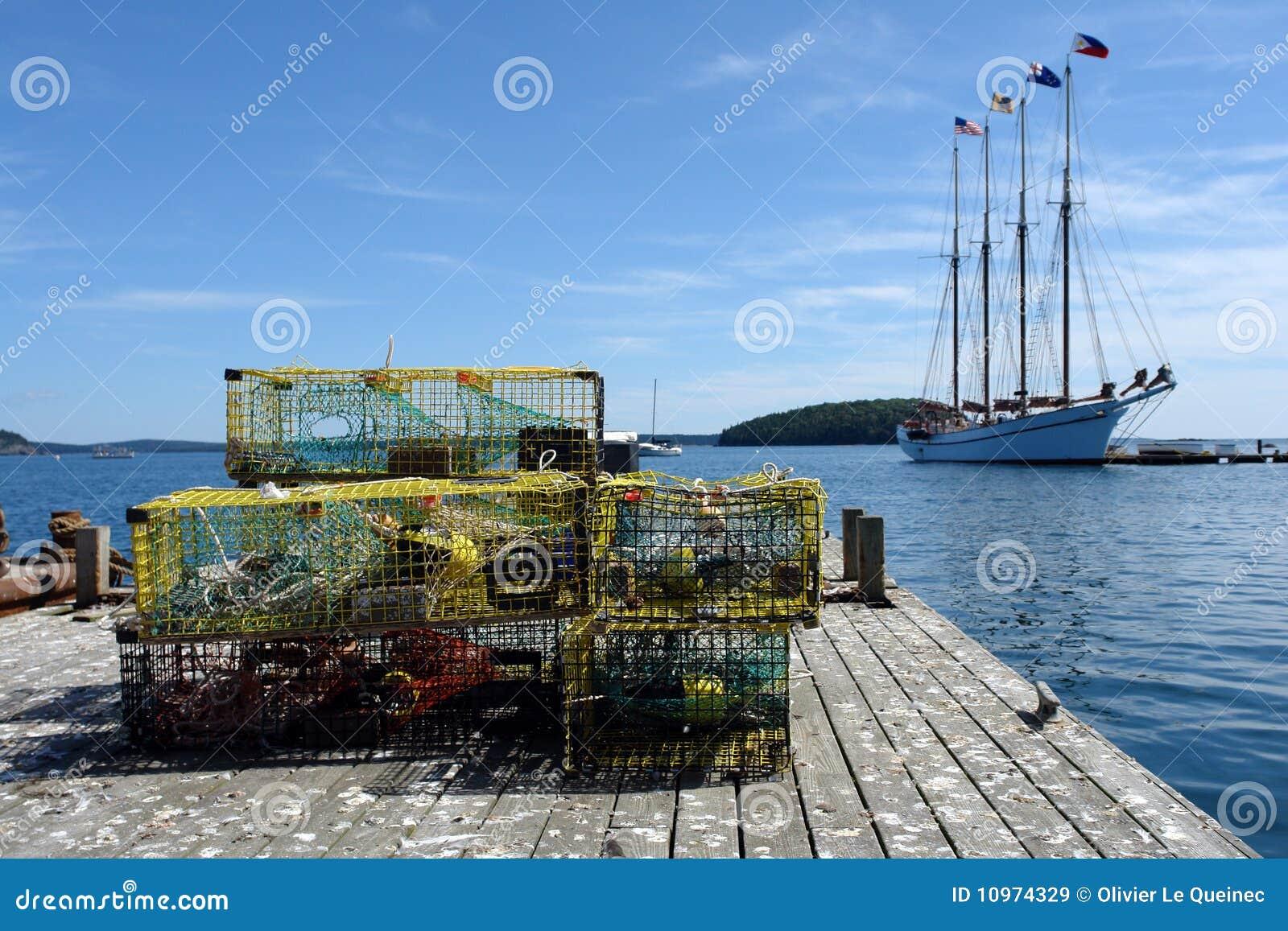 NET-MENDING OFF THE COAST OF MAINE FISHING BOATS SHIPS NAUTICAL