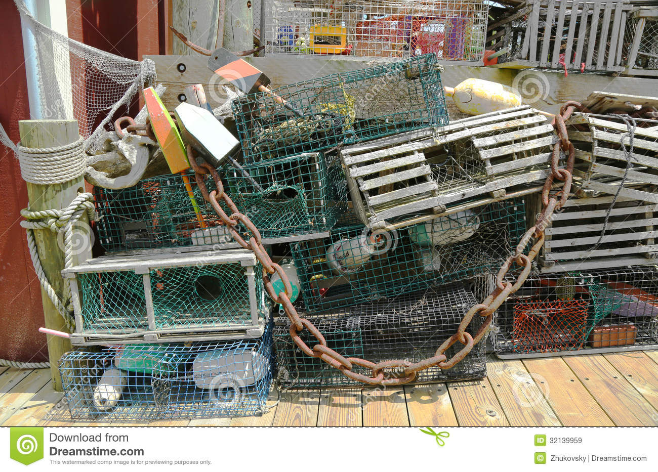 Lobster traps and lobster buoys at the dock in bar harbor for Best time to visit maine for lobster