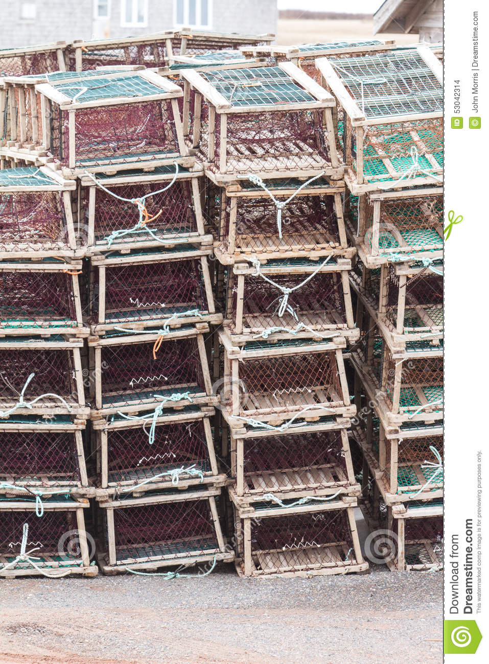 Lobster Traps on Wharf stock photo. Image of marine, summer - 53042314