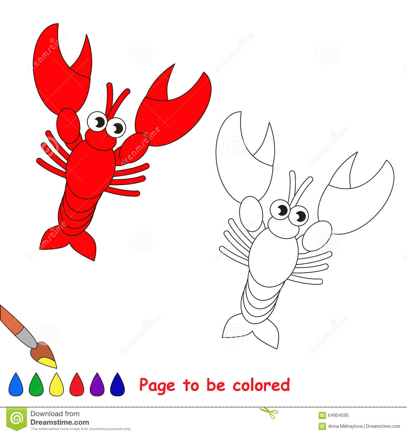 Lobster In Vector Cartoon To Be Colored. Stock Vector - Illustration ...