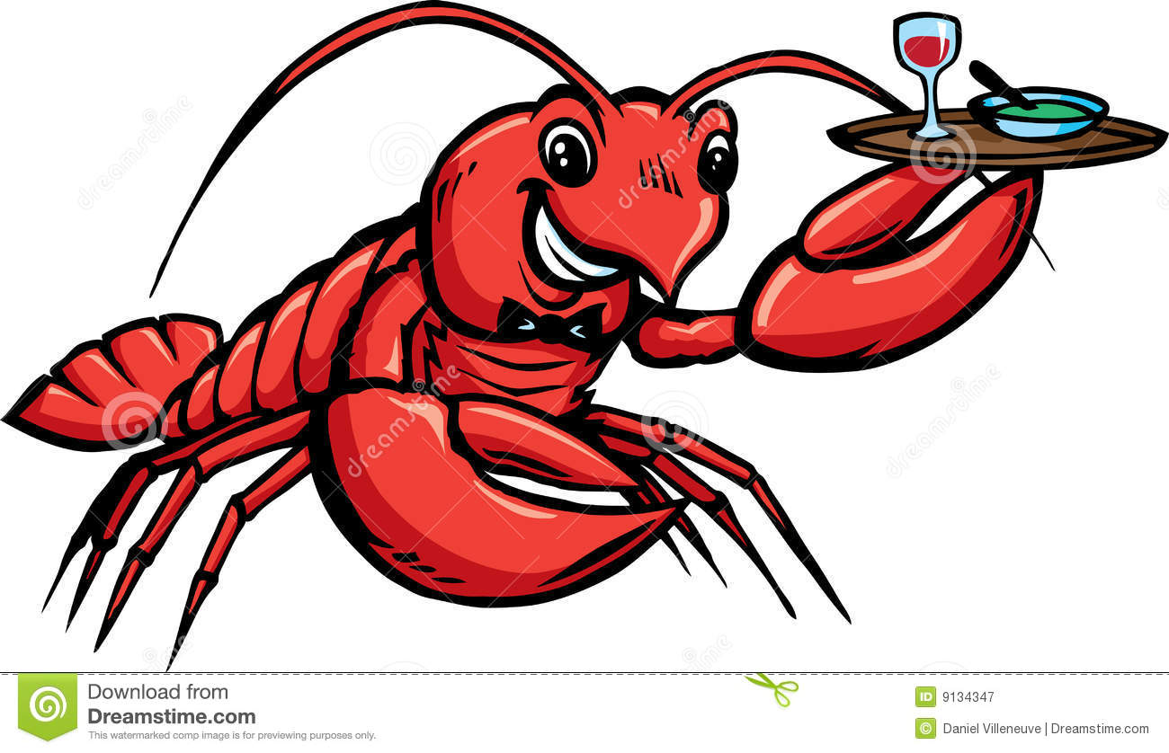 Lobster Waiter stock vector. Image of serve, seafood, tray ...