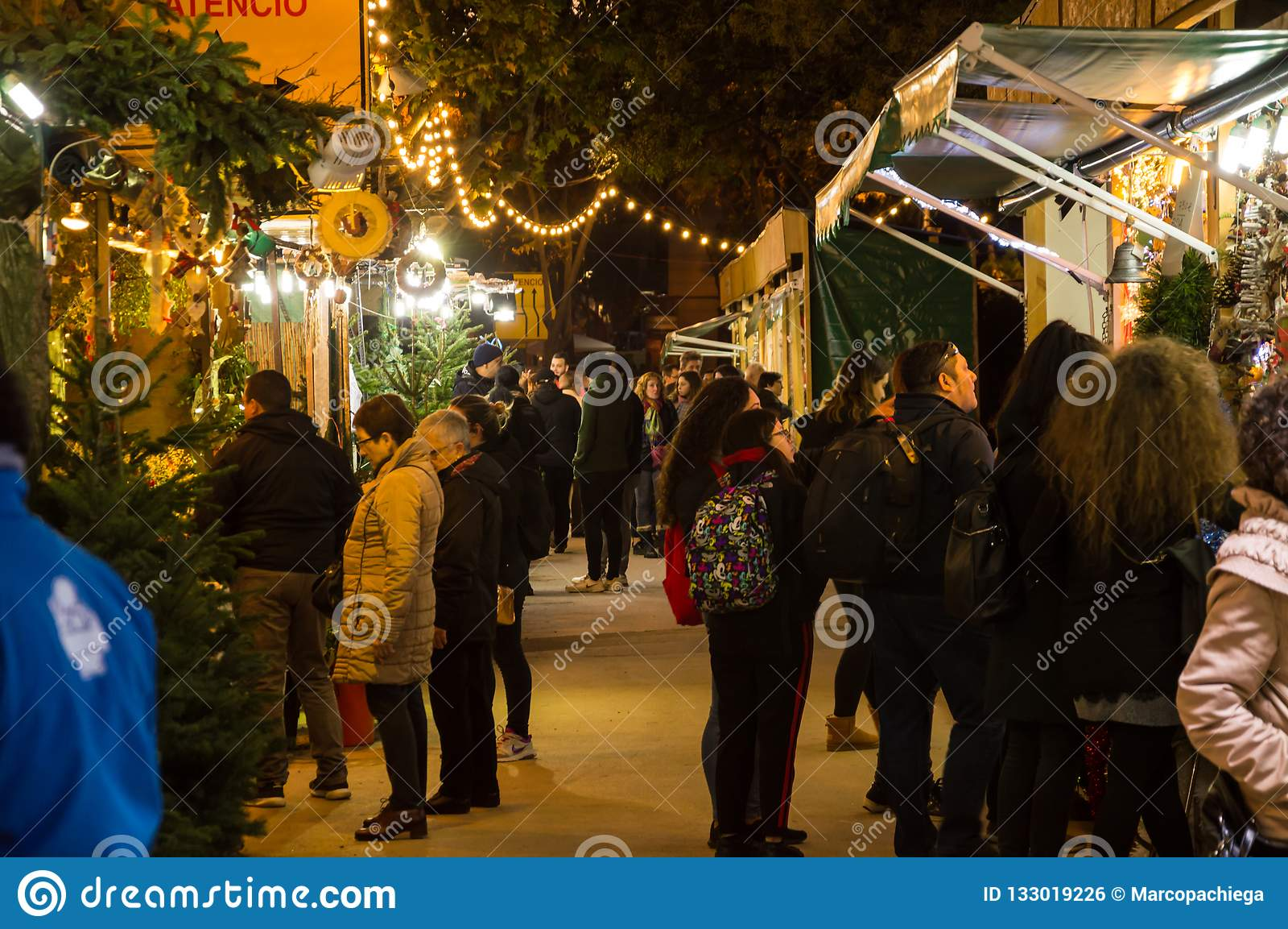 Christmas In Barcelona Spain.Christmas Market In Barcelona Editorial Photo Image Of