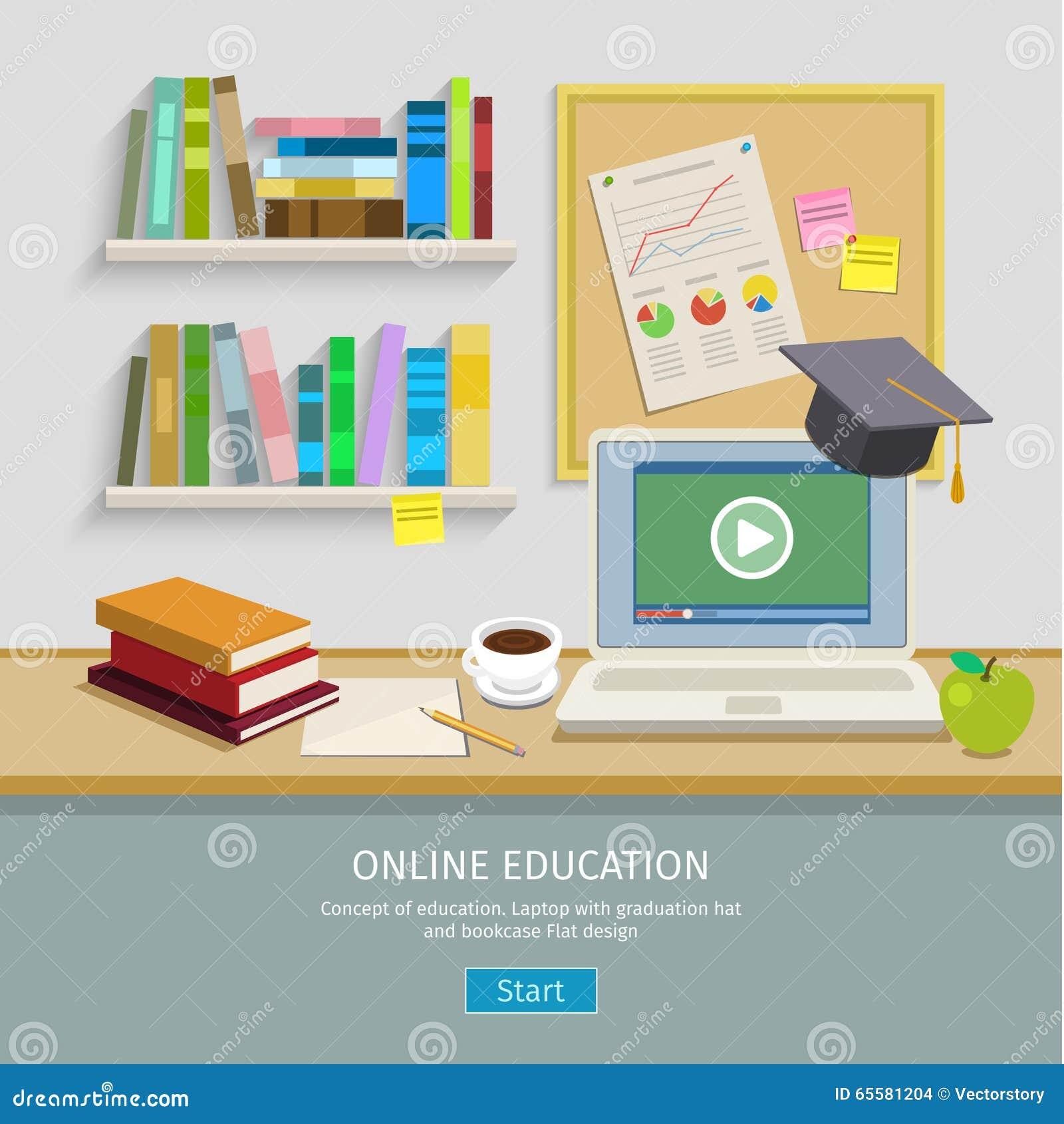 Local de trabalho com o computador para a educação em linha