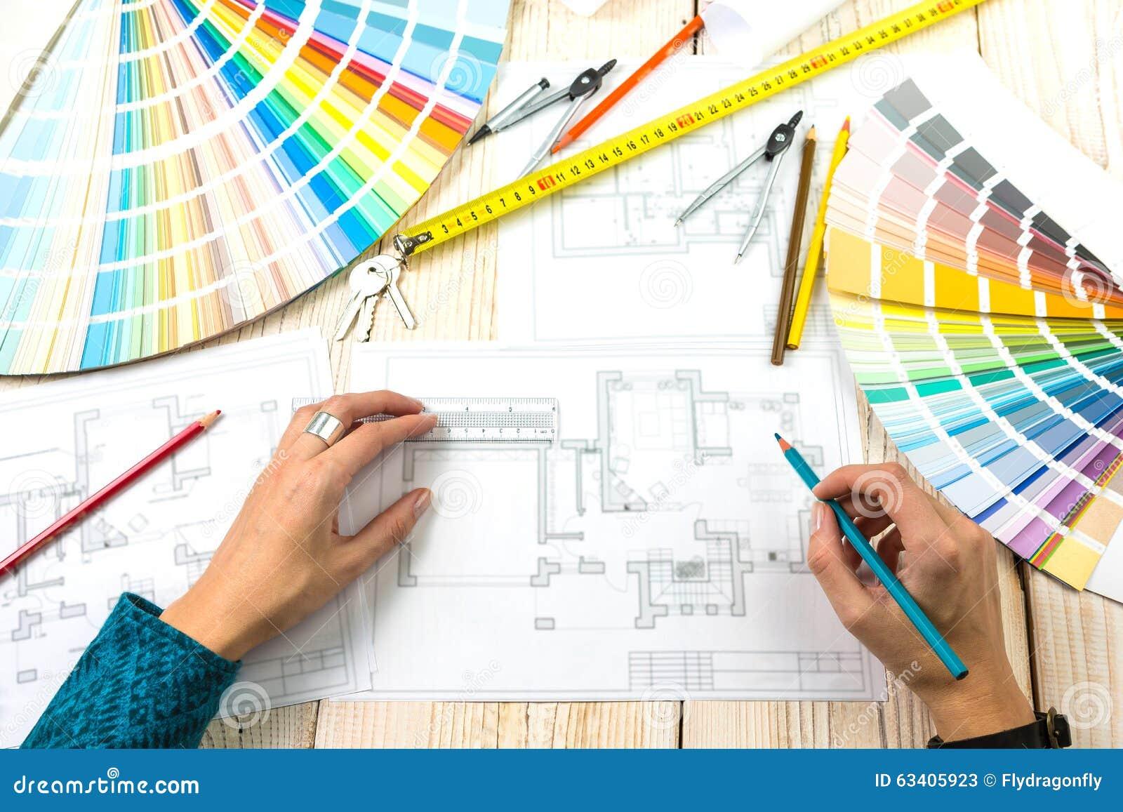 Local de trabalho do decorador do arquiteto do desenhista - Decorador de fotos ...