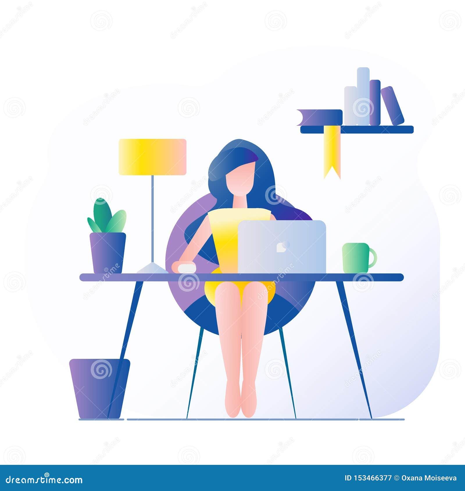 Local de trabalho do escrit?rio A menina senta-se na tabela Na tabela é um portátil, lâmpada, copo, cacto Ilustração do vetor com
