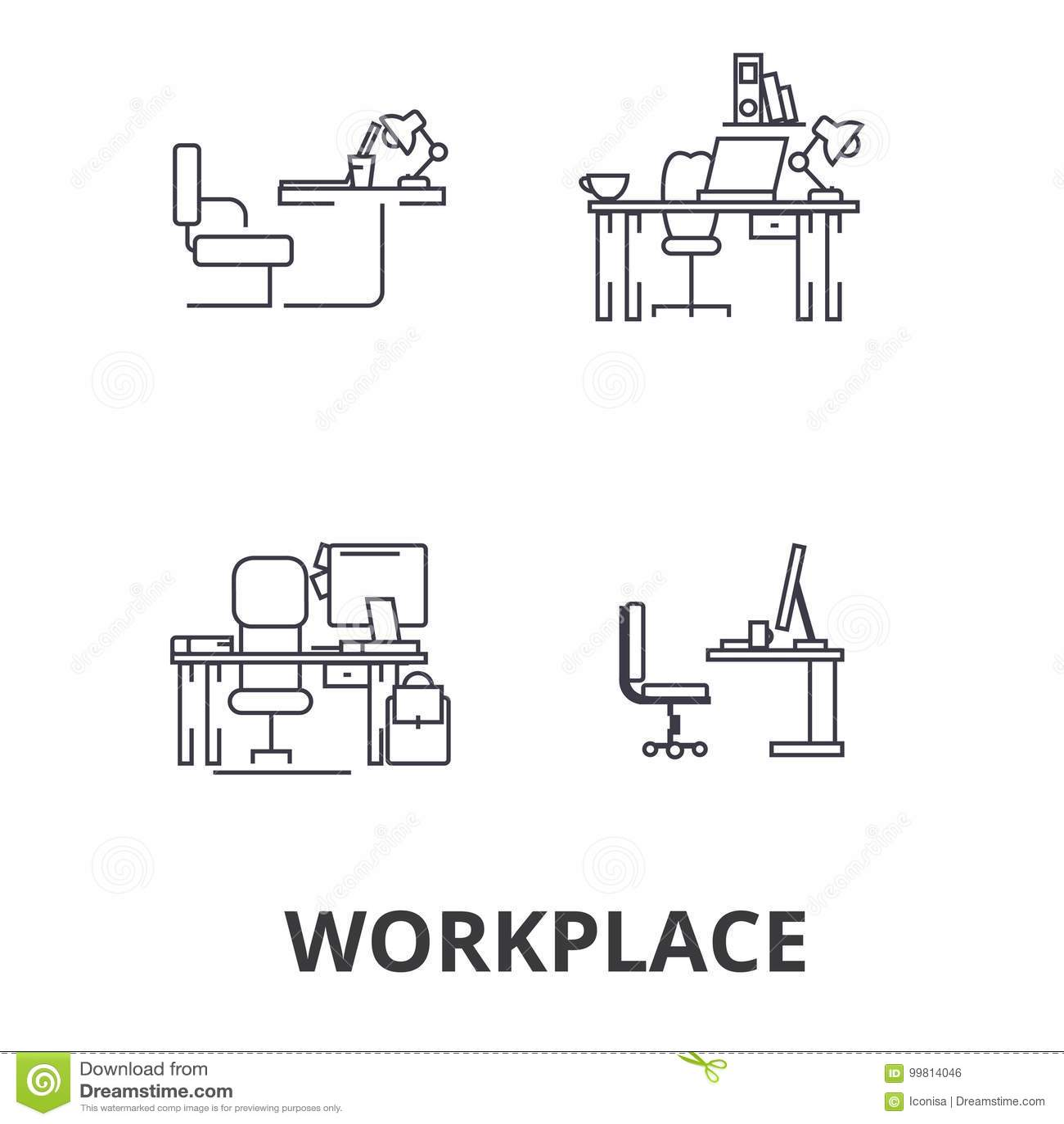 Local de trabalho, escritório, trabalho, negócio, mesa, interior incorporado, linha industrial ícones Cursos editáveis Vetor liso