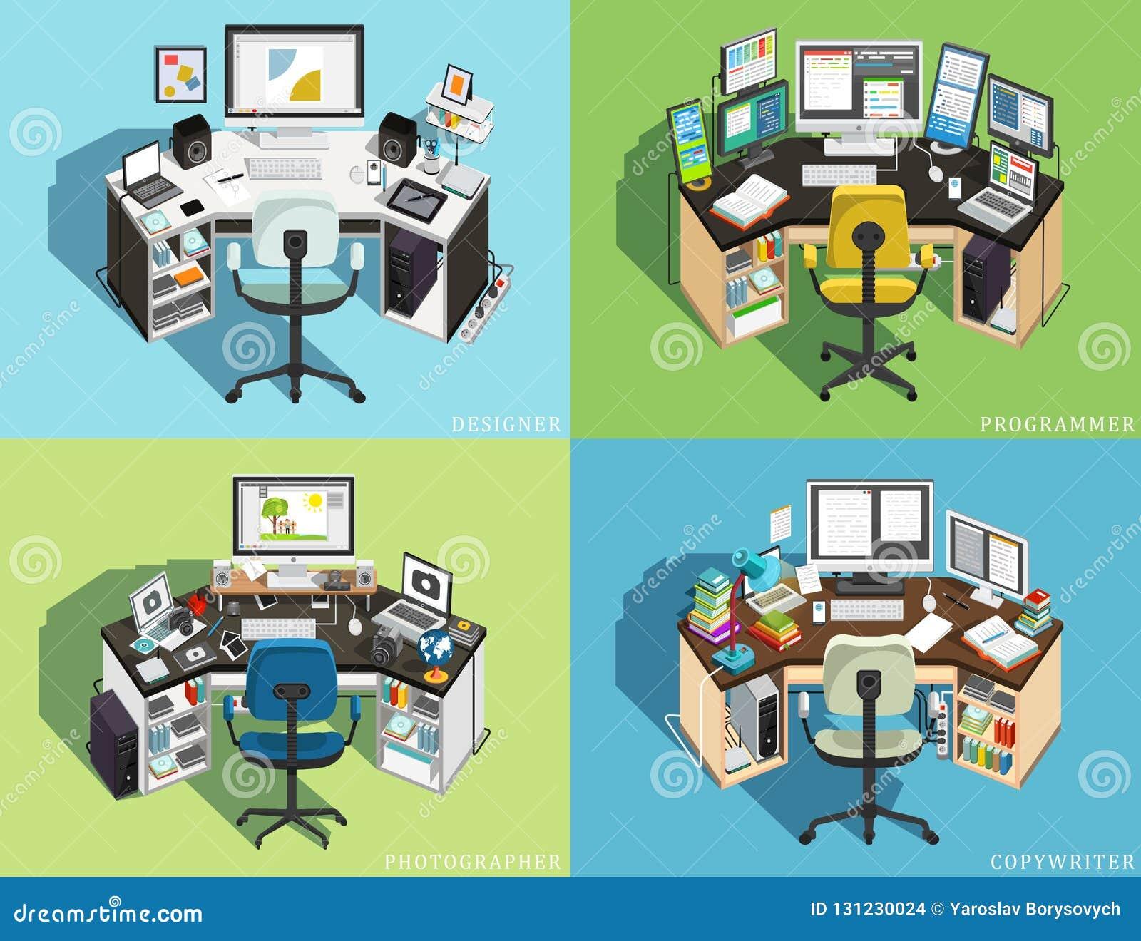 Local de trabalho no computador de profissões diferentes Programador, desenhista Photographer, redator Vetor