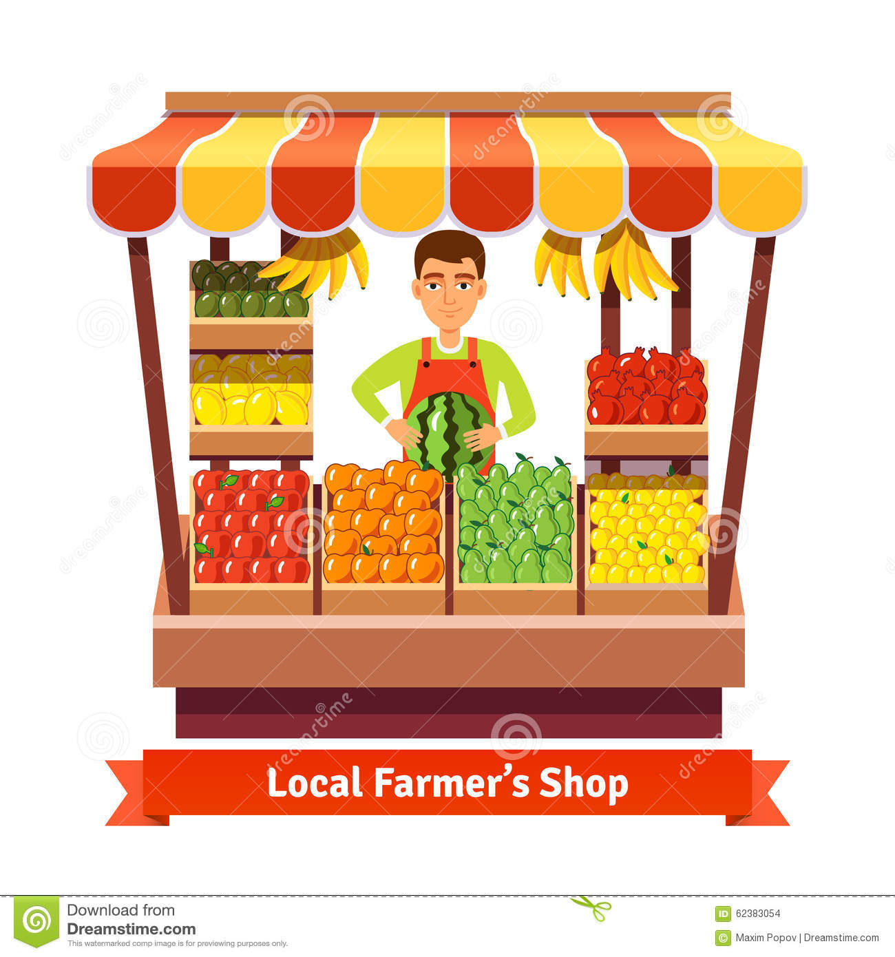 Stock Illustration Local Farmer Produce Shop Keeper Fruit Vegetables Retail Business Owner Working His Own Store Flat Style Illustration Image62383054 on Design Your Own Landscape Plan