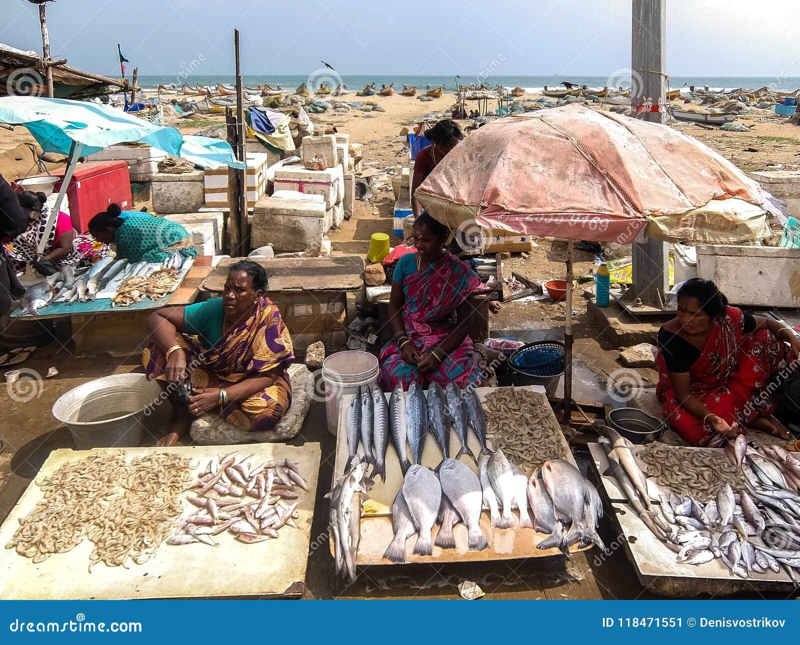 Local fish market on the road near the beach in Chennai, India.