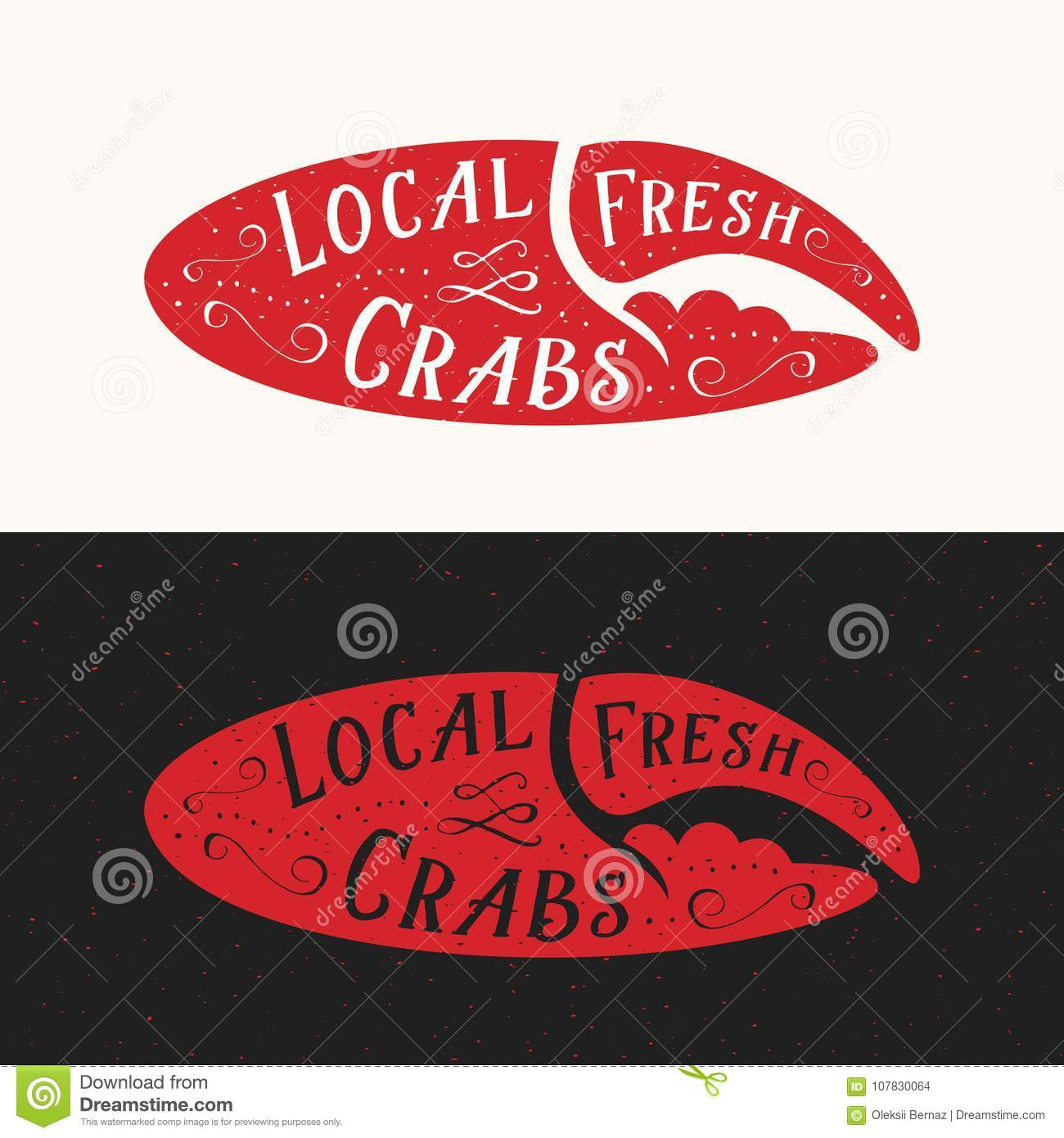 Local Fresh Crabs Sign Seafood Abstract Vector Emblem Icon Or Logo