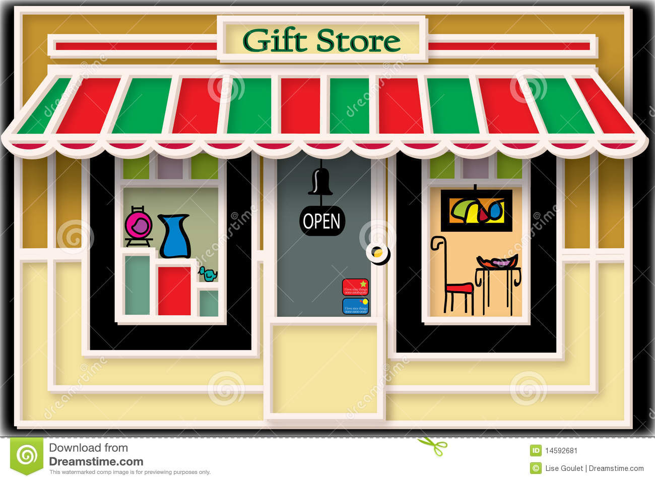 Local Gift Store Illustration Stock Image Image 14592681
