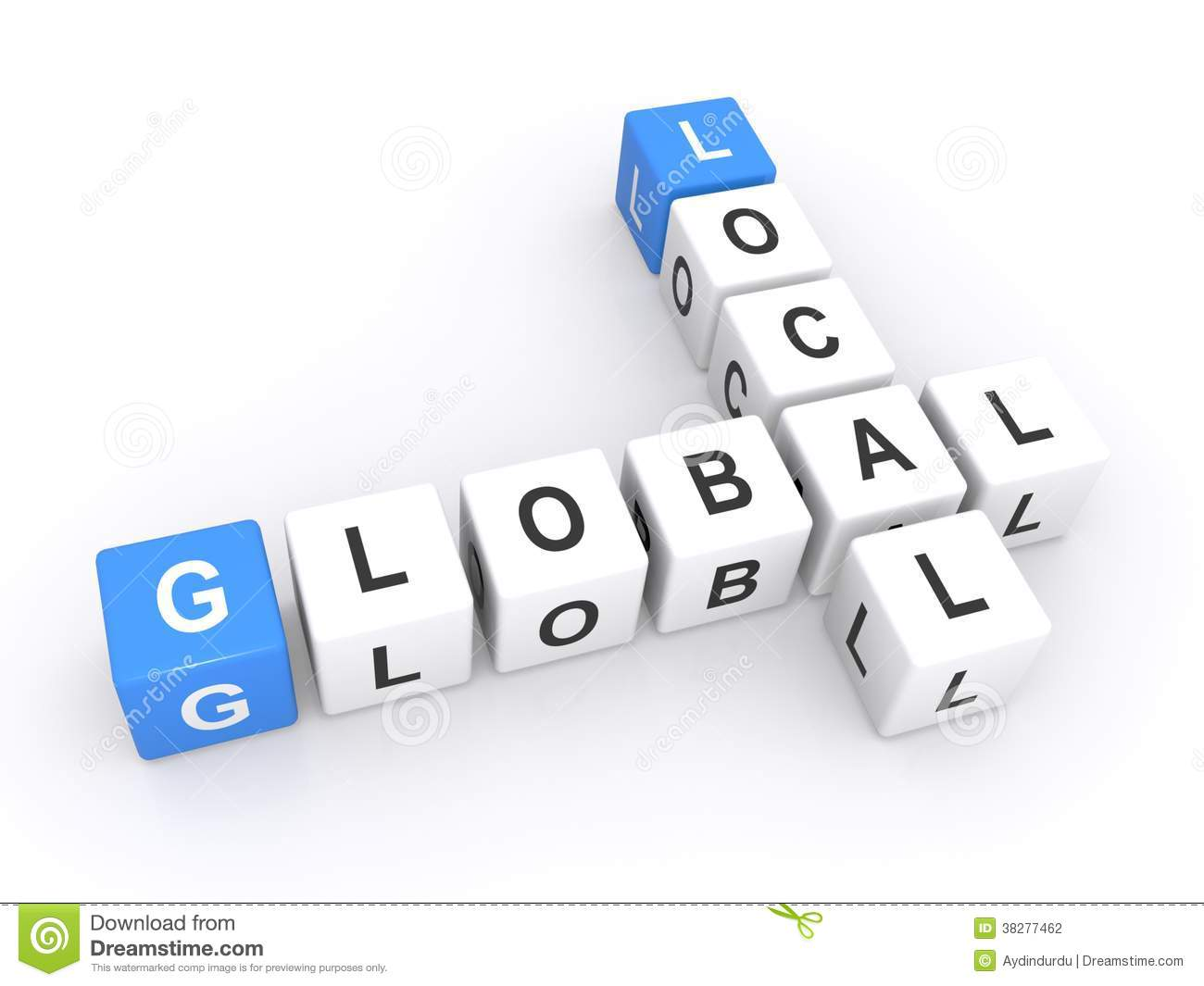 ... shape spelling local global, isolated on a white studio background