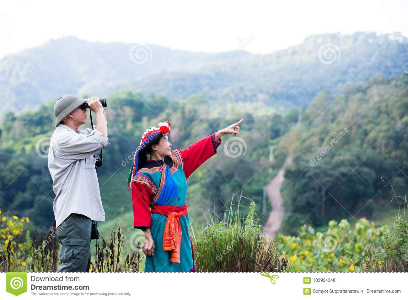 Local hill tribe in colorful costume dress enjoy