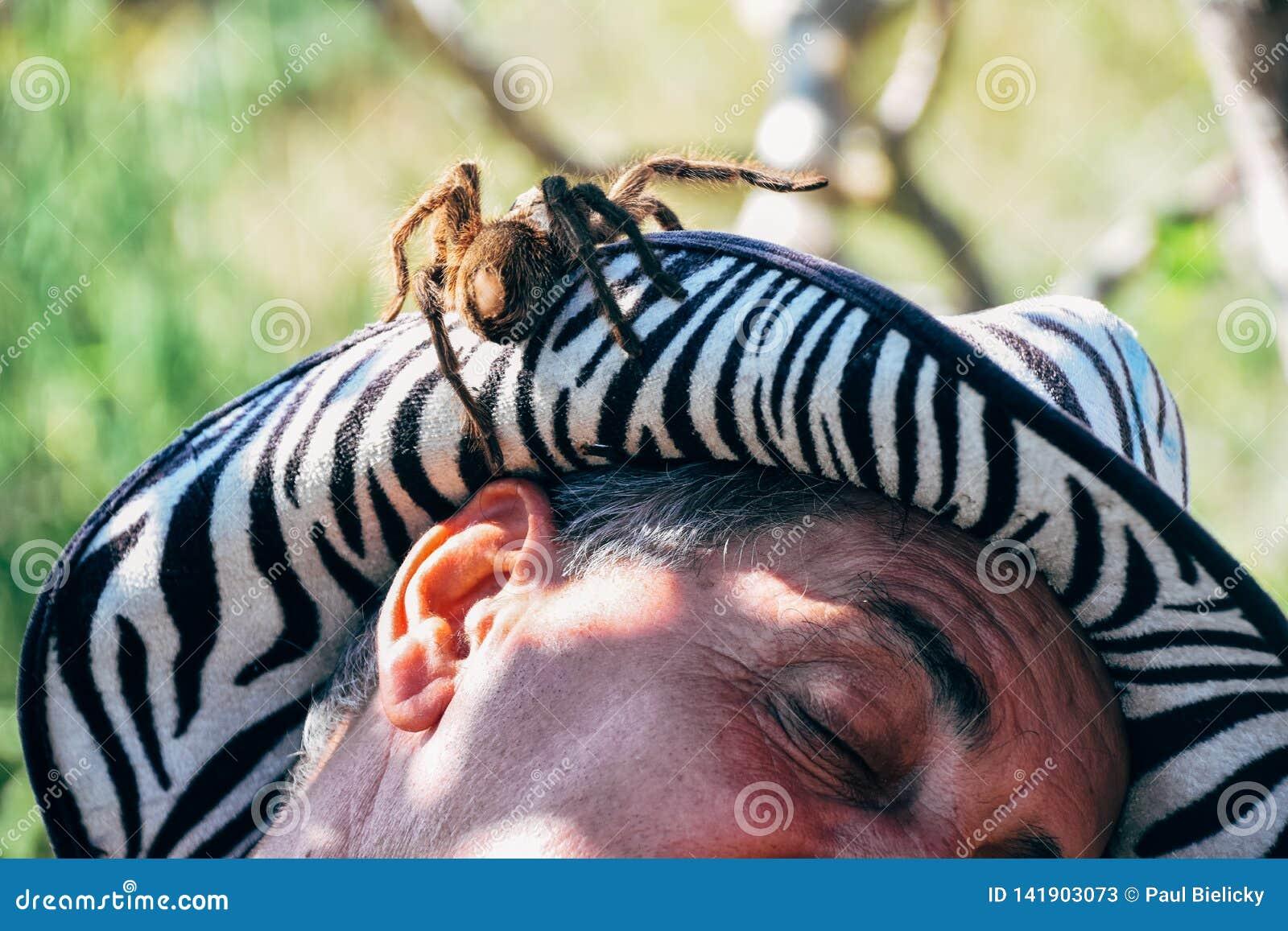 A local with his pet tarantula posses for the camera near Trinidad, Cuba.