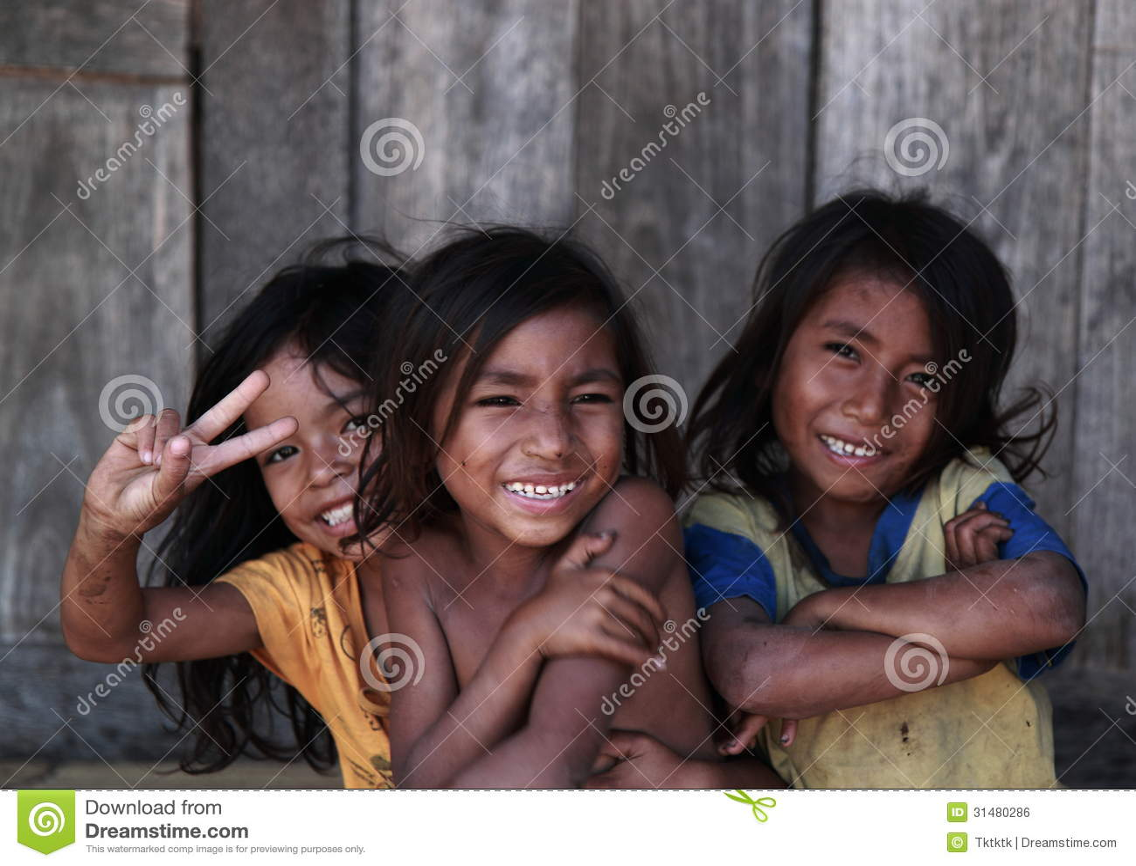 Village Lifestyle Indonesian Children Smiling Editorial Photo