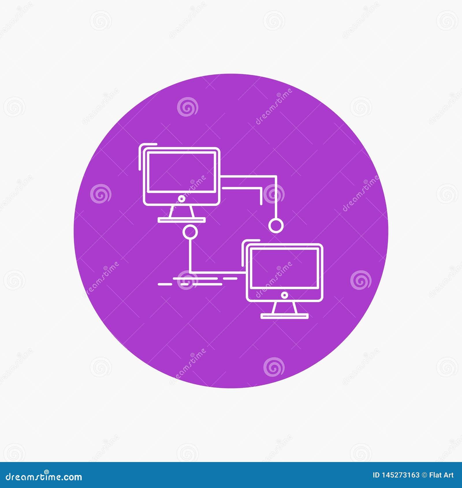 Local, lan, conexión, sincronización, línea blanca icono del ordenador en fondo del círculo Ejemplo del icono del vector