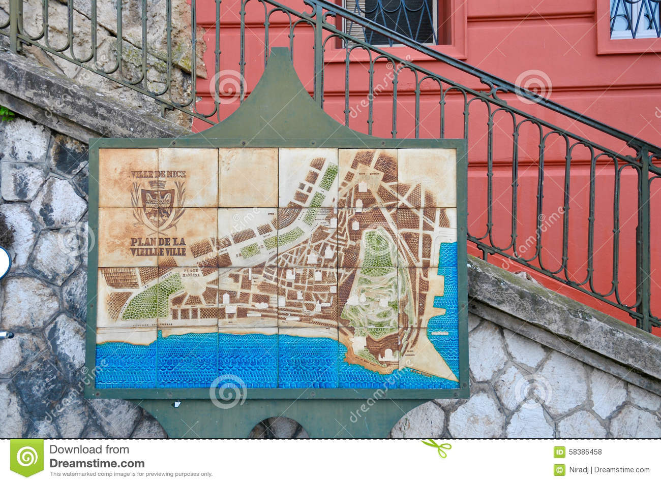 Local Map Of Nice City France Riviera Stock Photo Image Of