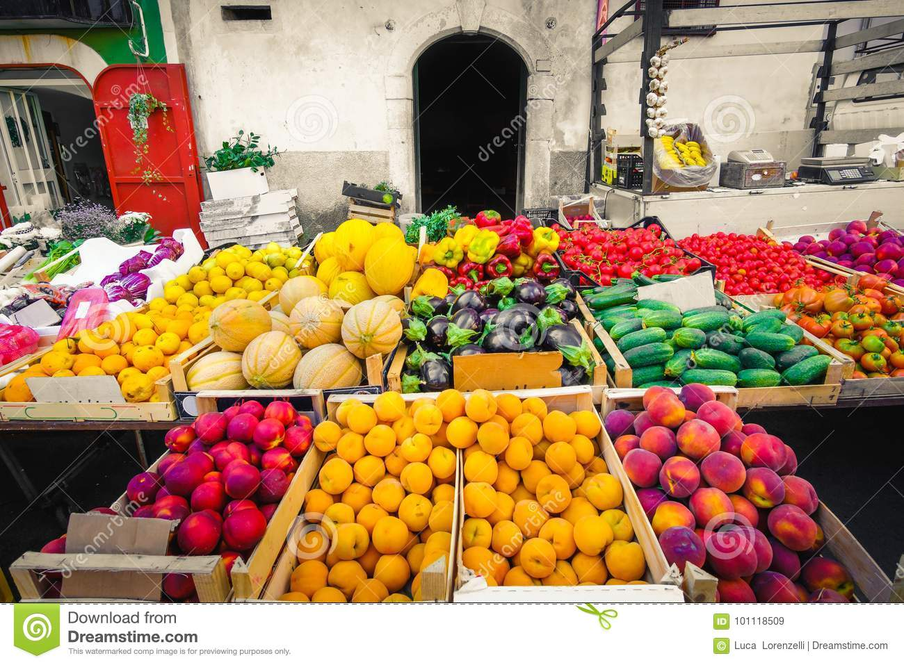 Local market greengrocery food miles fruits and vegetable shelve