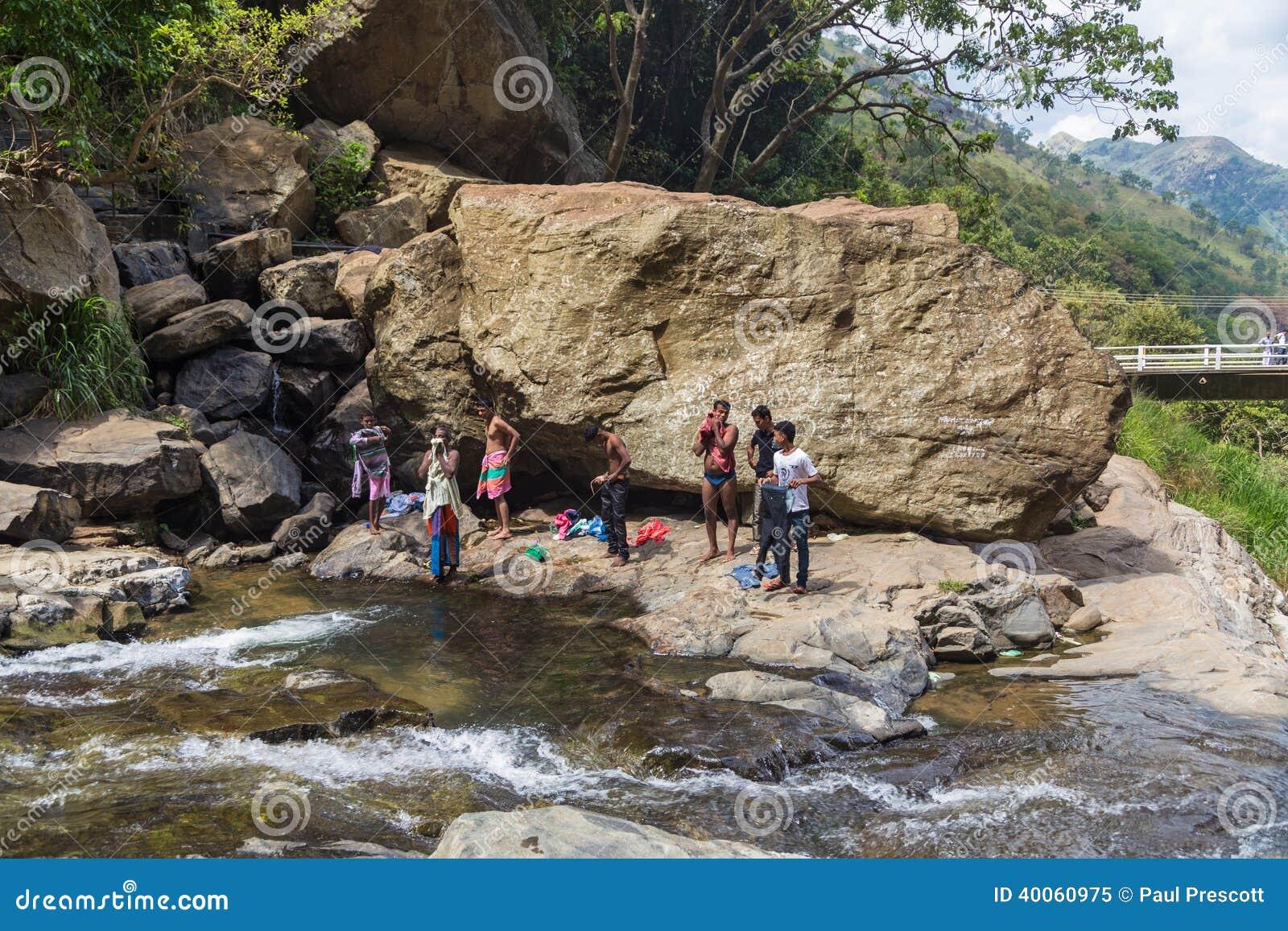 Local men having fun at Ravana falls