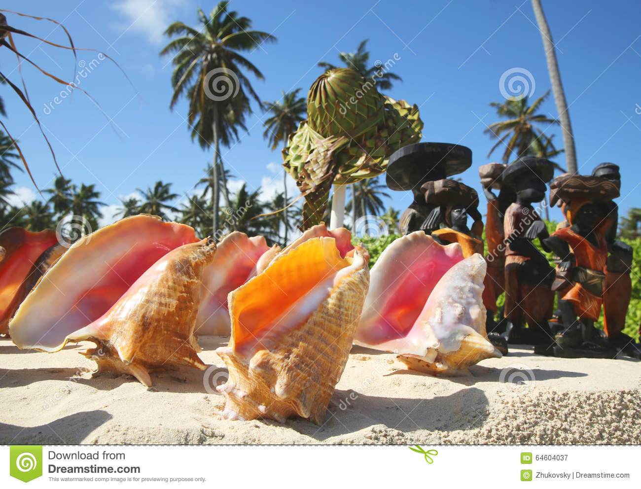 local souvenirs on display at the beach in punta cana stock image