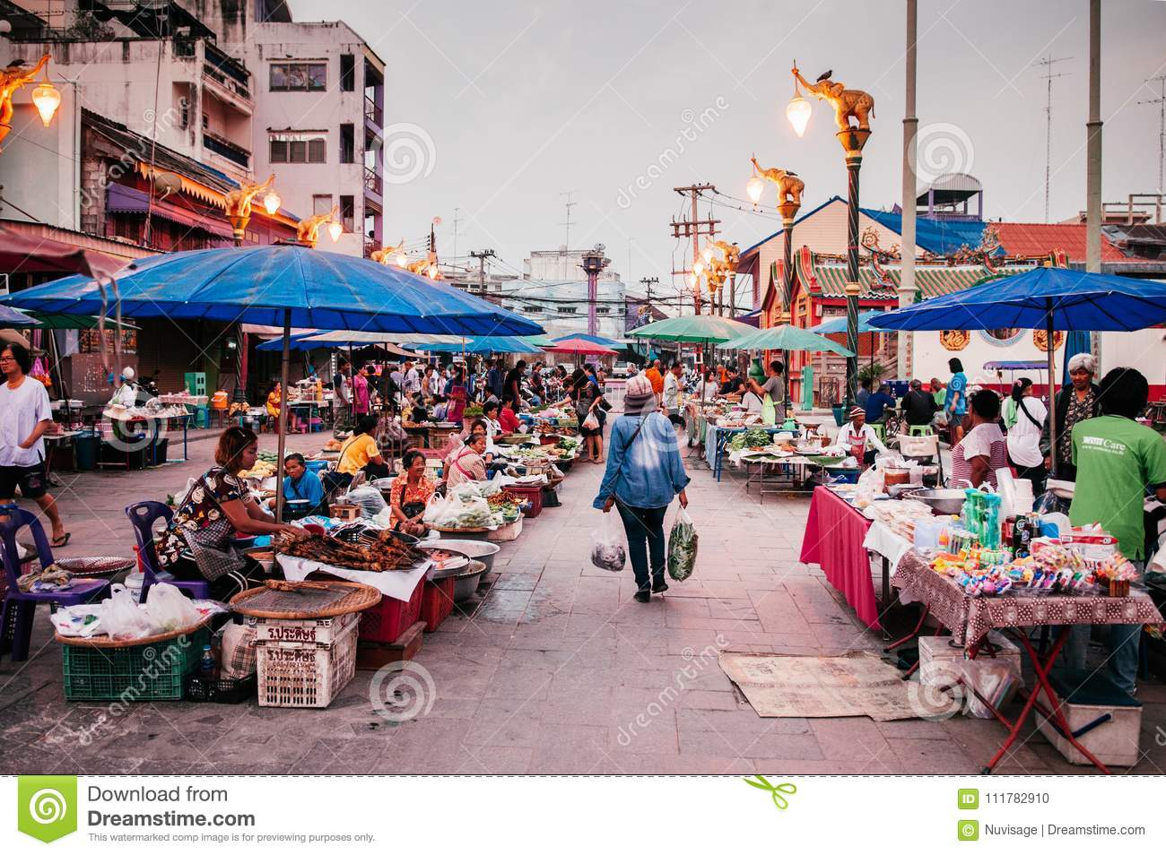 Local Thailand Morning Market Buyers, Sellers Editorial