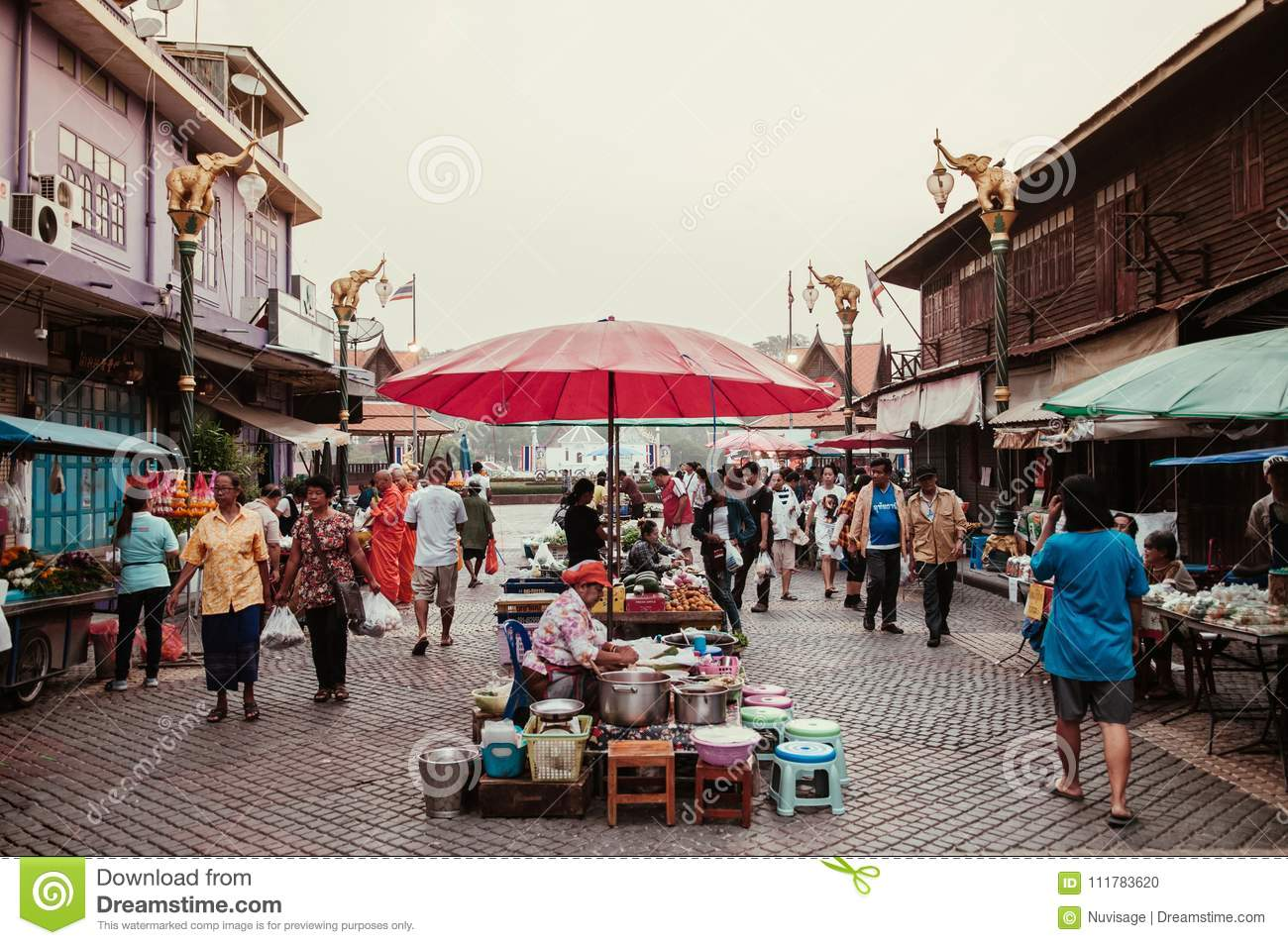 Local Thailand Morning Market Buyers, Sellers And Monks