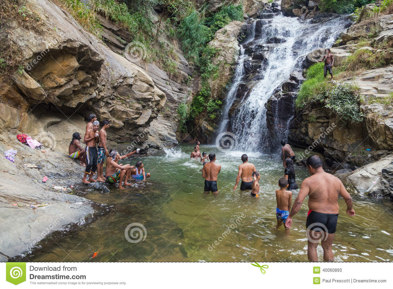 Local Boy Covered With Soap At Ravana Falls Editorial