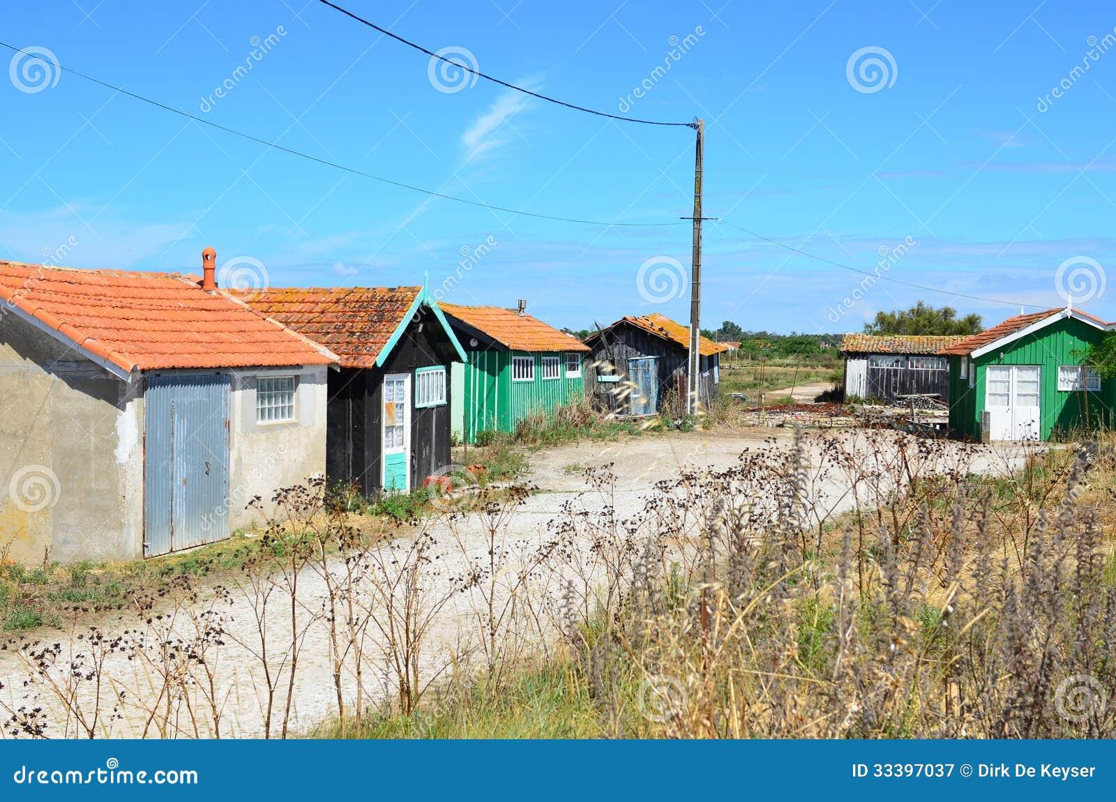 Localice el ostriecole, ostra que cultiva el puerto, Oleron, Charente-Maritime, Francia