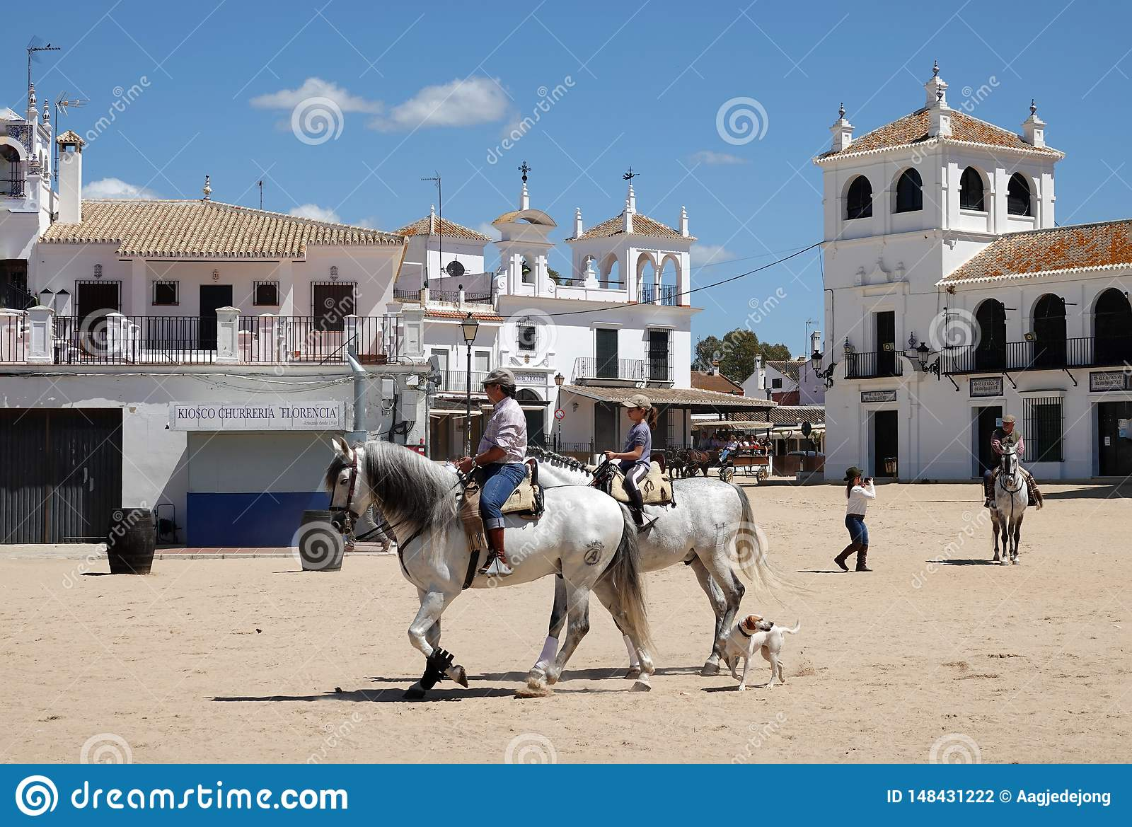 Horse Riding In Western Town El Rocio In Andalusia Spain Editorial Photography Image Of Largest Justed 148431222