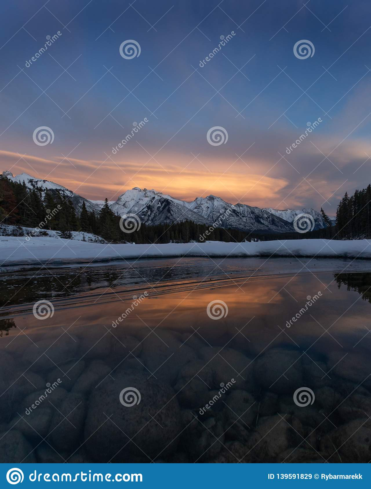 Winter sunset at Johnson Lake, Banff National Park, Travel Alberta, Canada, Canadian Rockies, North America, Landscape of Canada