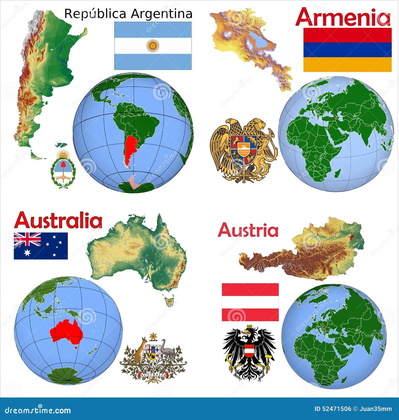 Location ArgentinaArmeniaAustraliaAustria Stock Illustration - Argentina globe map