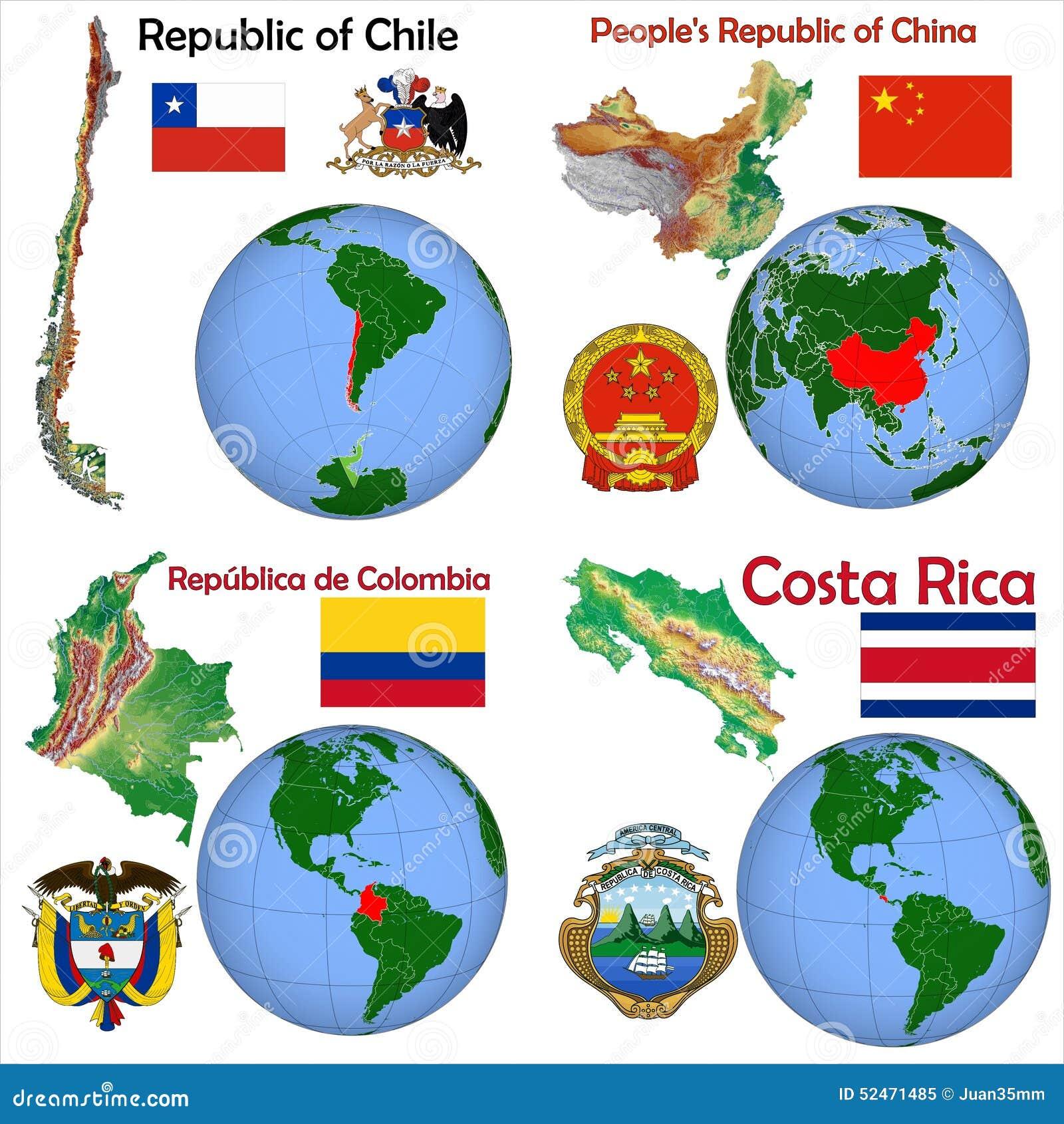 Location China ChileColombiaCosta Rica Stock Illustration - Location of china