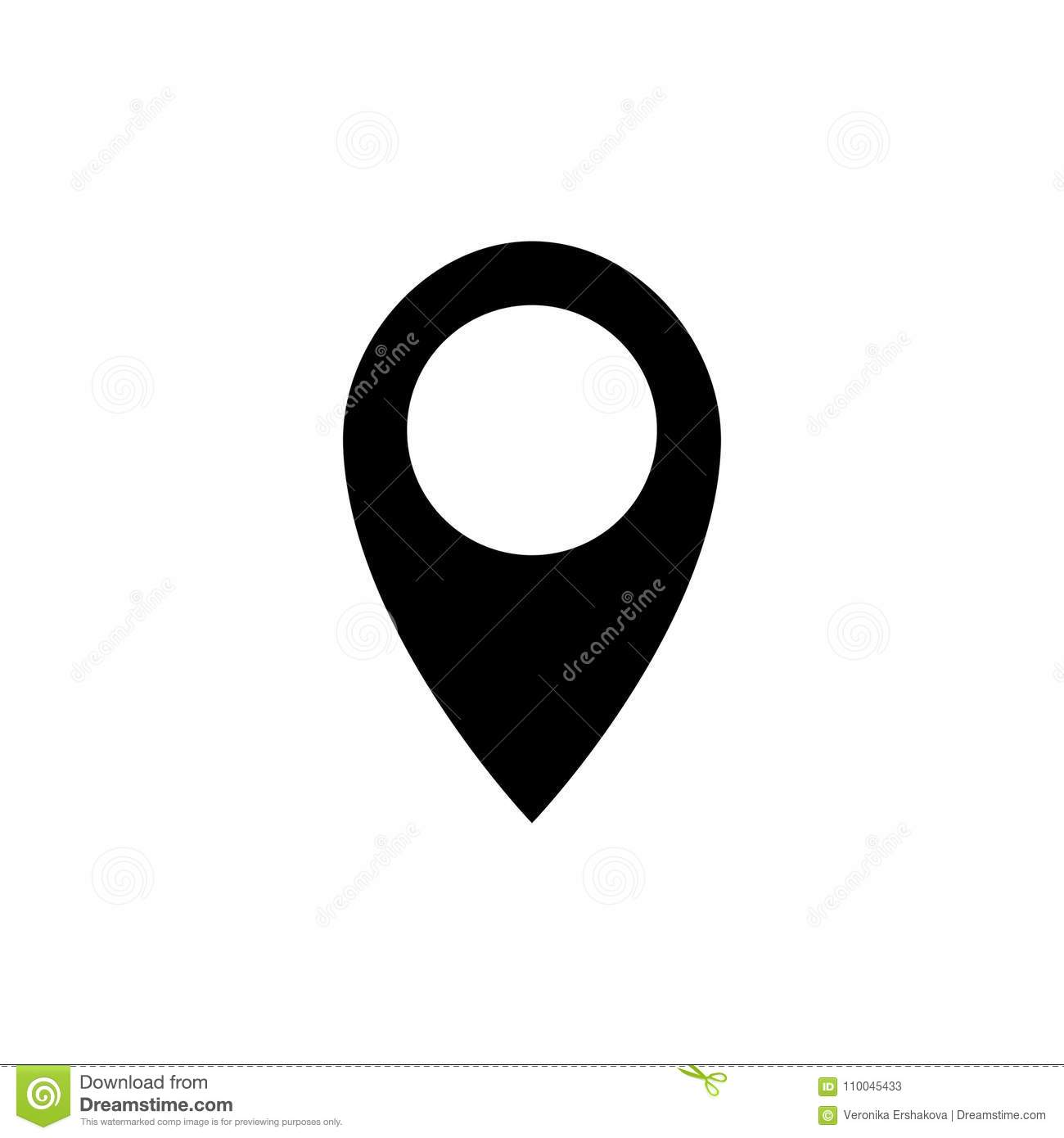 Location Icon Vector  Pin Sign Isolated On White Stock