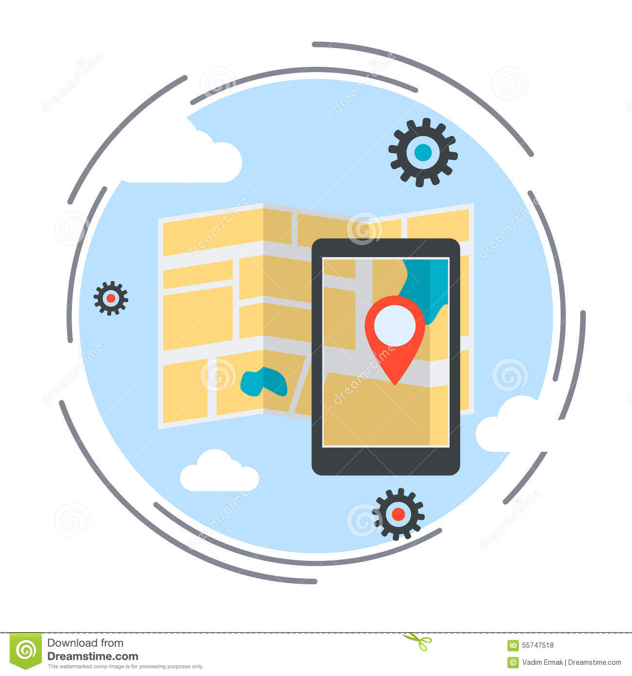 Location map, route, GPS navigation service vector illustration